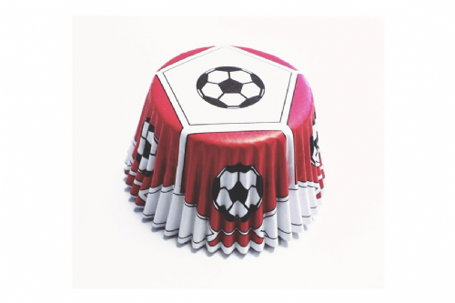 Red Football Foil Baking Cases - Pack of 30